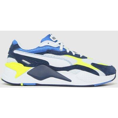 PUMA White & Blue Rs-x3 Twill Airmesh Trainers