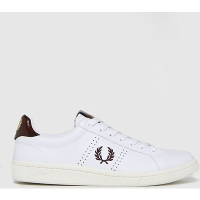 Fred Perry White & Burgundy Leather Tab Trainers