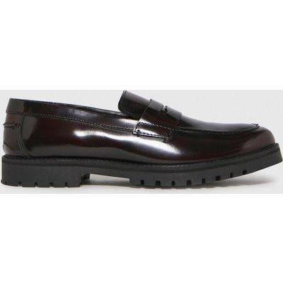 Schuh Burgundy Rogan Leather Hi Shine Loafer Shoes