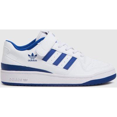 Adidas White & Blue Forum Low Trainers Junior