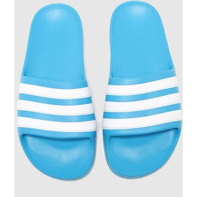 Adidas Blue Adilette Aqua Sliders Youth