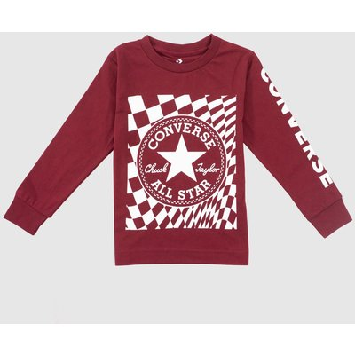 Clothing Converse Red Kids L/s Chuck Patch Tee