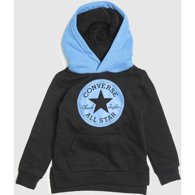 Clothing Converse Black And Blue Kids Sherpa Lined Hoodie