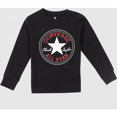 Clothing Converse Black & Red Kids L/s Chuck Patch Tee