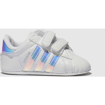Adidas White & Silver Superstar Crib Shoes Baby