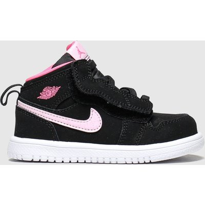 Nike Jordan Black & Pink 1 Mid Trainers Toddler