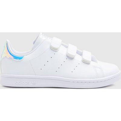 Adidas White & Silver Stan Smith 3v Trainers Junior