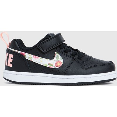 Nike Black & Pink Court Borough Low Trainers Junior