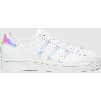 Adidas White & Silver Superstar Trainers Youth