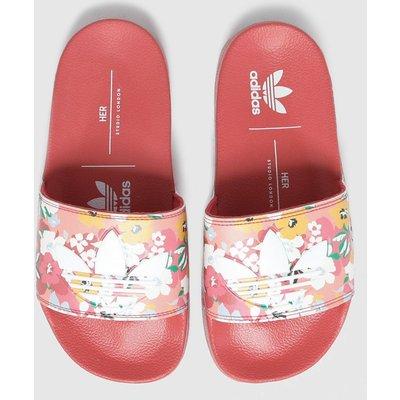 Adidas Red Adilette Lite Sliders Youth