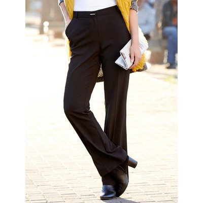 Women's Ladies black easy care fabric centre crease silver bar classic tailored bootcut trousers