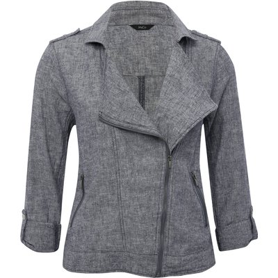 Women's Ladies crosshatch navy linen biker jacket with tabbed three quarter length sleeve asymmetric zip