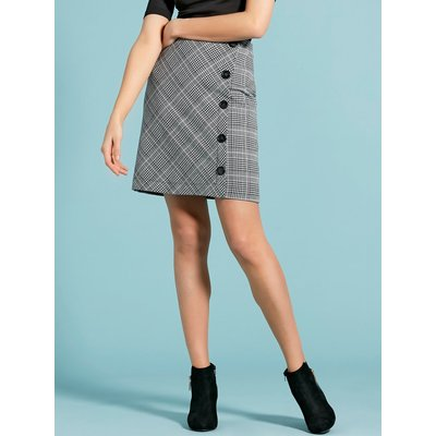 Women's Ladies high waist check print button side a line skirt