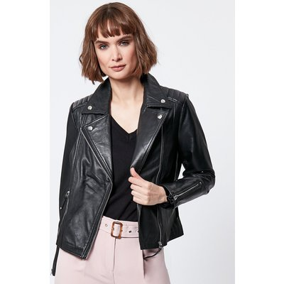 Women's Ladies 100% leather black biker jacket