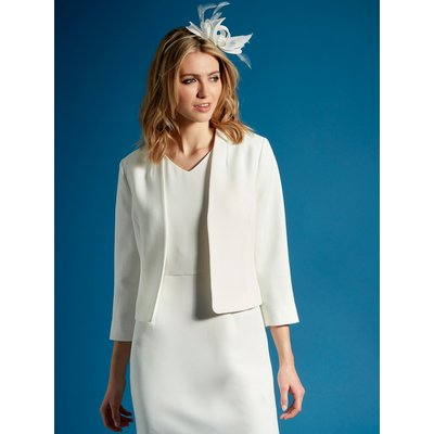 Women's Ladies occasionwear cropped collarless jacket with three quarter length sleeves
