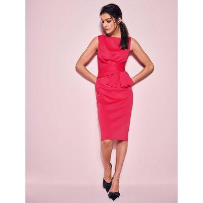 Ladies ruffle pencil dress  - Cerise Pink