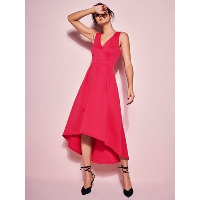 Ladies dip hem dress  - Cerise Pink
