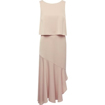 Ladies asymmetric midi dress  - Champagne