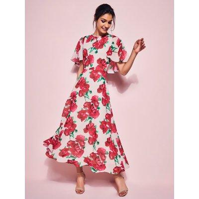 Ladies rose print cape midi dress  - Champagne