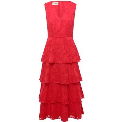 Ladies floral tiered midi dress  - Pink