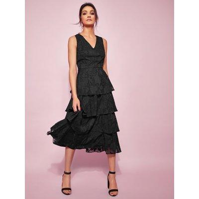 Ladies floral tiered midi dress  - Black