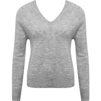 Women's Ladies JDY grey v neck long sleeved crop jumper