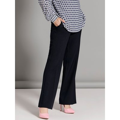 Petite ladies classic black bootcut leg stretch formal trousers  - Navy