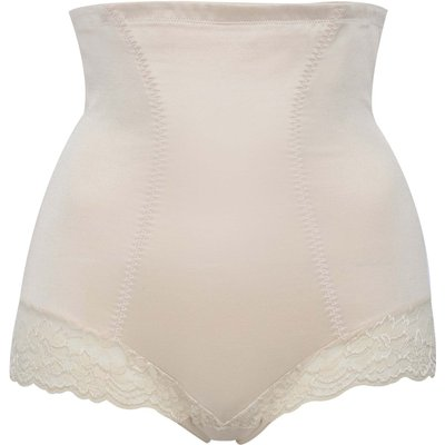 Ladies High Waisted Lace Trim Shaping Slimming Control briefs  - Nude