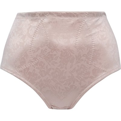 Ladies floral delustre shapewear soft stretch front high waisted slimming light tummy control briefs  - Pink