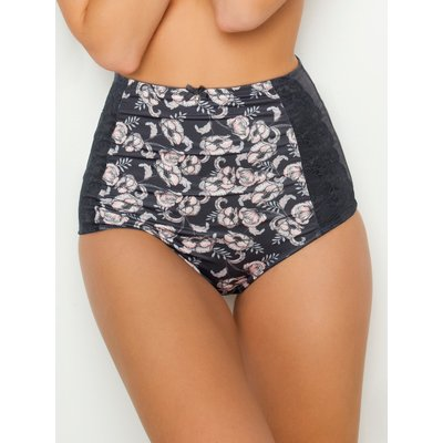 Ladies floral print control briefs high waisted full coverage  - Grey