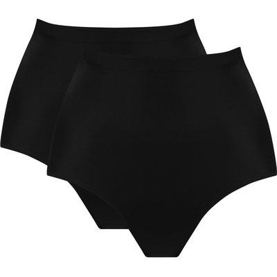 Ladies microfibre control briefs two pack  - Black