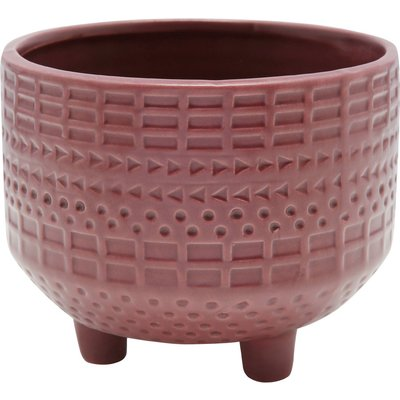 Home dusky pink plant pot round shape geometric pattern with short legs  - Wine Red