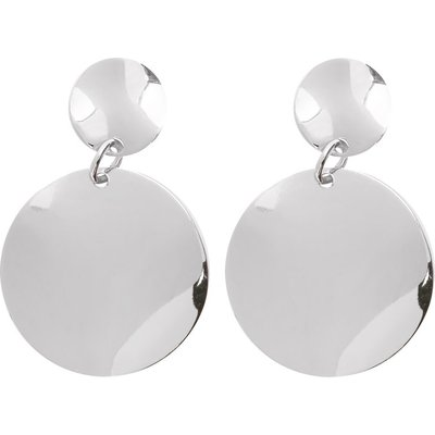 Ladies Layered small and large hammered circle drop design jewellery earrings  - Silver