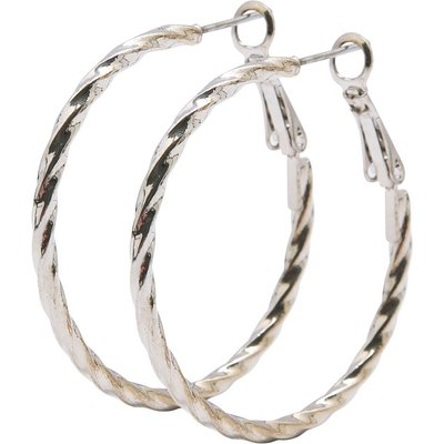 Ladies hoop earrings with twist design  - Silver