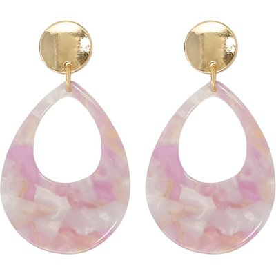Ladies pink resin drop earrings  - Blush