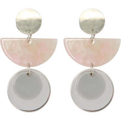 Ladies half moon resin drop earrings  - Silver