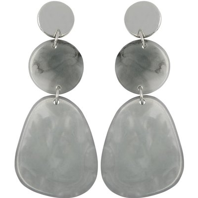 Ladies grey resin statemtent earrings  - Grey