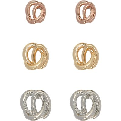 Ladies knot earrings three pair pack gold rose gold and silver tones  - Multicolour