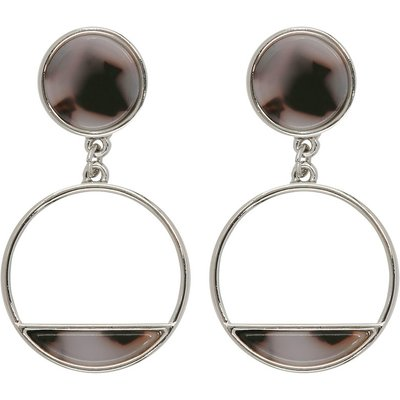 Ladies drop circular earrings with grey animal print style stone effect  - Silver