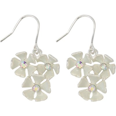 Ladies enamel flower drop earrings  - Silver