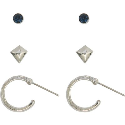Ladies stud and hoope earrings three pack  - Silver