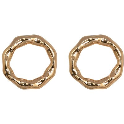 Ladies gold tone hammered circle stud earrings  - Gold