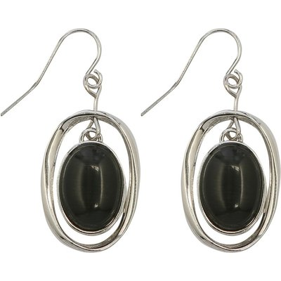Muse earrings with silver tone hoop and black drop stone  - Navy