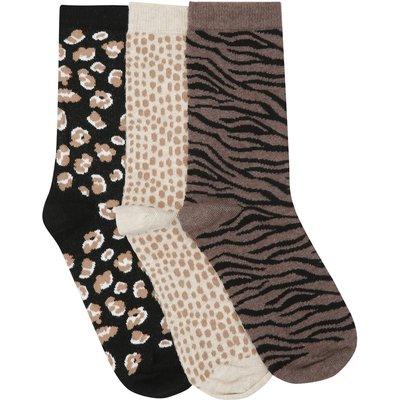 Ladies ankle socks three pack with animal print designs  - Natural