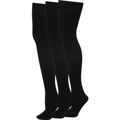Ladies 40 denier black tights three pack  - Black