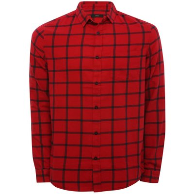 Mens square check red long sleeve shirt  - Red