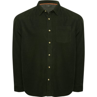 Mens cord shirt with long sleeves contrast button front classic collar classic fit G - Green