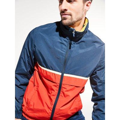 Mens red and navy windbreaker jacket long sleeve zip front pockets  - Navy
