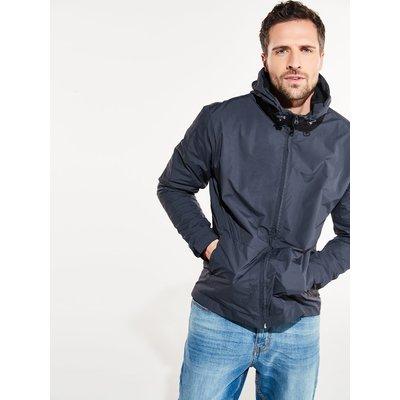 Mens dark grey windbreaker jacket shower resistant long sleeve zip front pockets hooded  - Grey