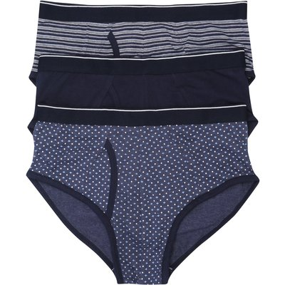 Mens Navy Blue Mixed Stripe Spot and Plain Design Stretch Cotton Everyday Basic Briefs - 3 pack  - Multicolour